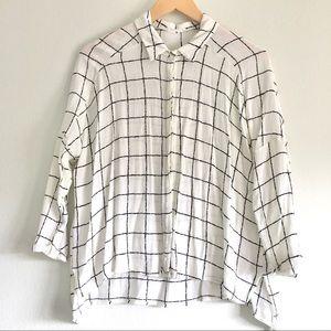 Lush white and black windowpane button down shirt